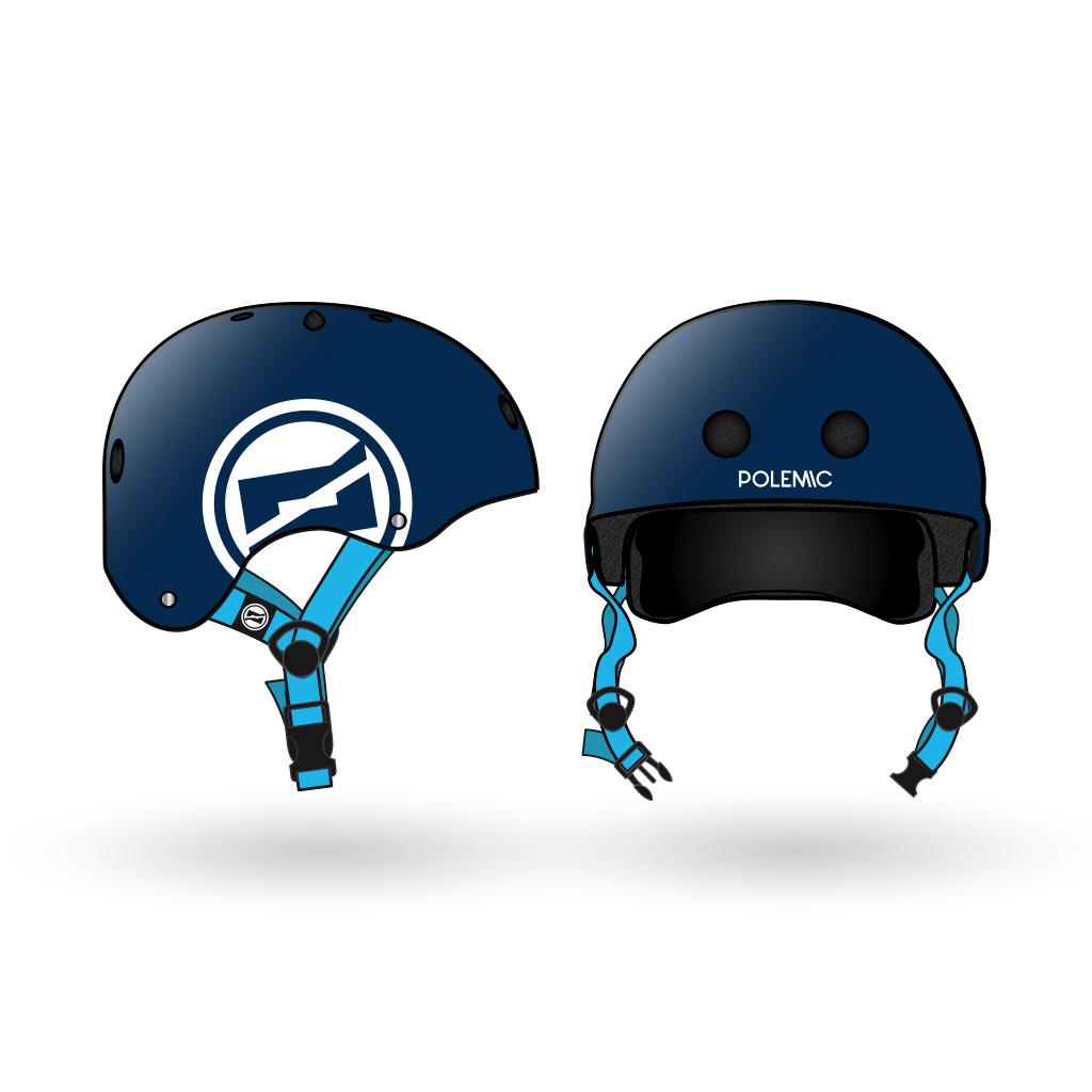 casco skate polemic azul
