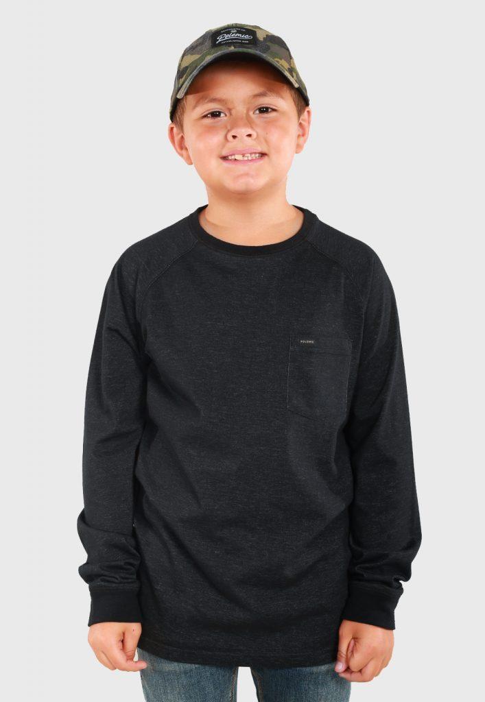 Polera M/L tailored niño QI6139-A NEGRO